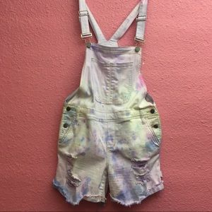 Tie Dye distressed destroyed jean overall shorts